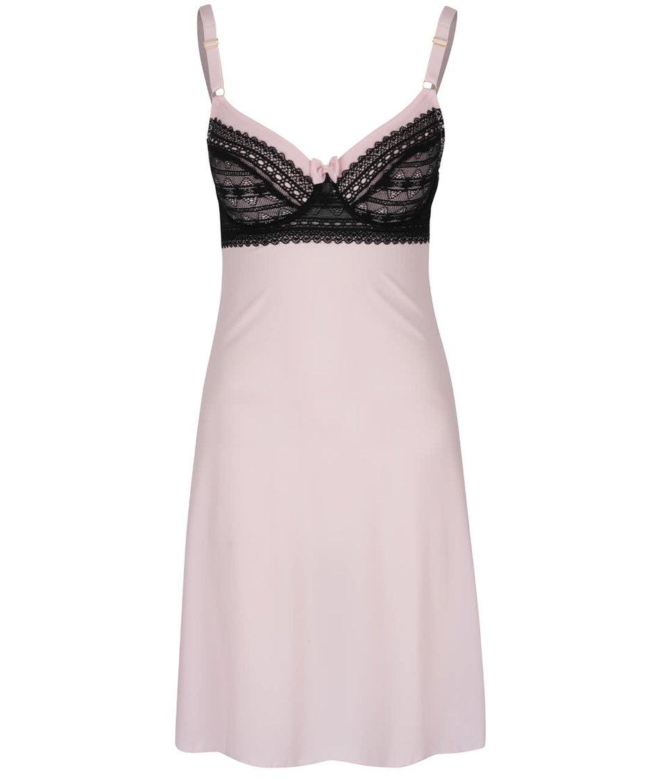 Růžová noční košilka s černou krajkou ICÔNE Lizy