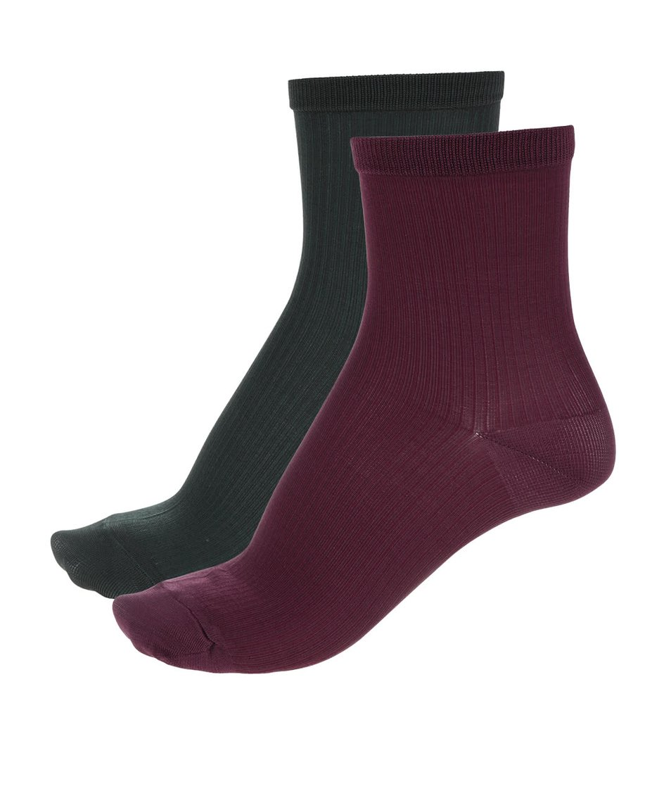 Sada dvou párů vínových a tmavě zelených ponožek Pieces Polly