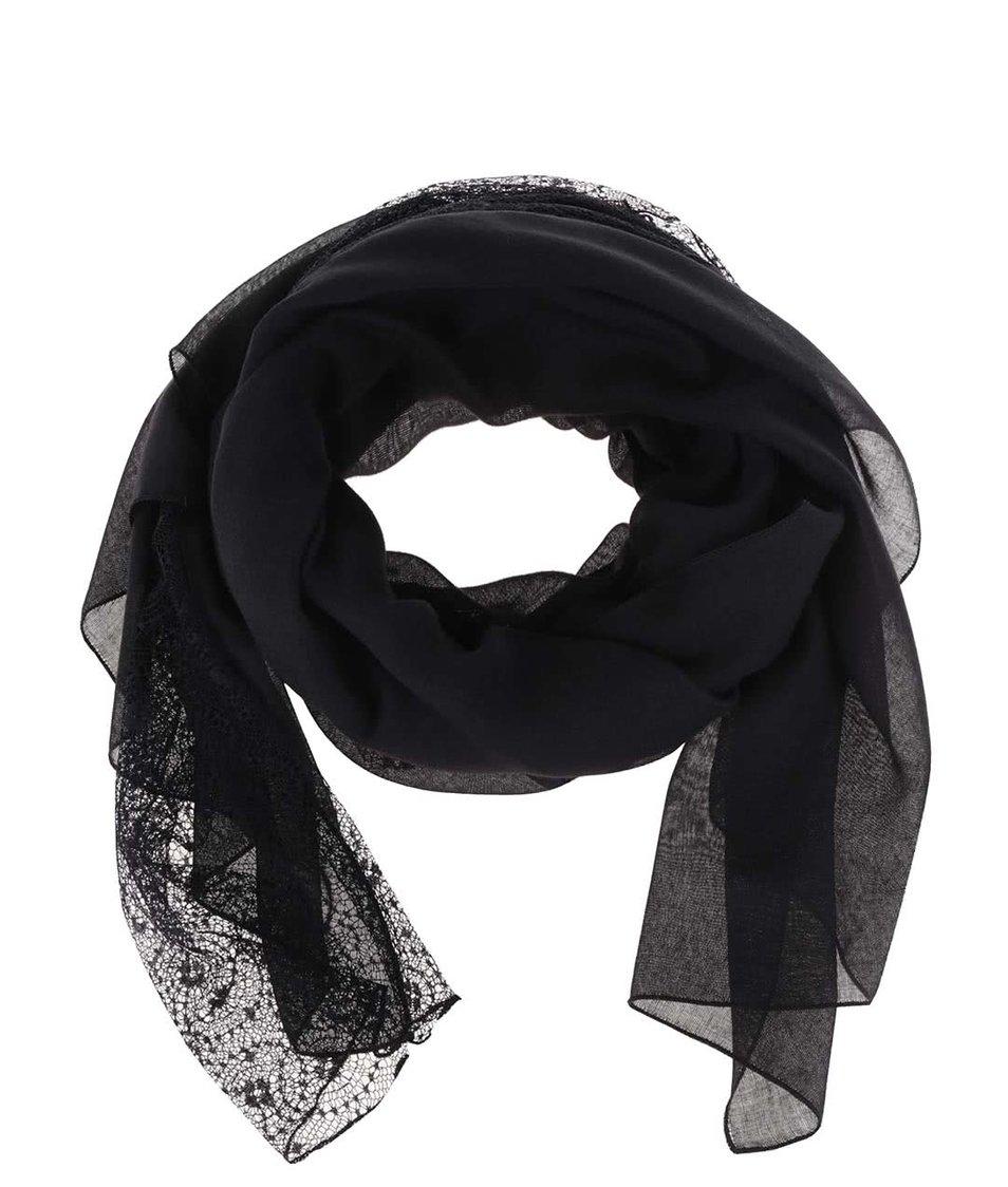 Černý šátek s krajkovanými detaily Pieces Danitta