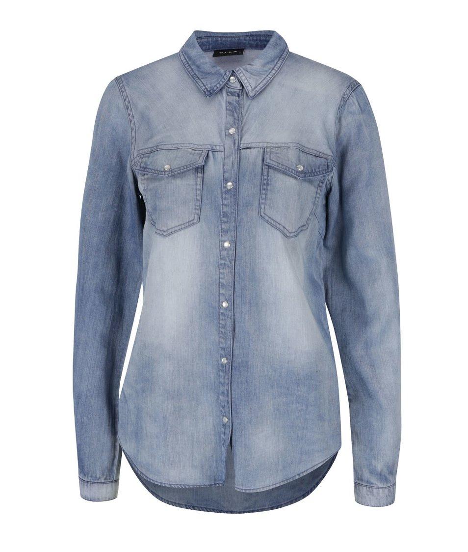 Modrá denimová košile s dlouhým rukávem VILA Bista