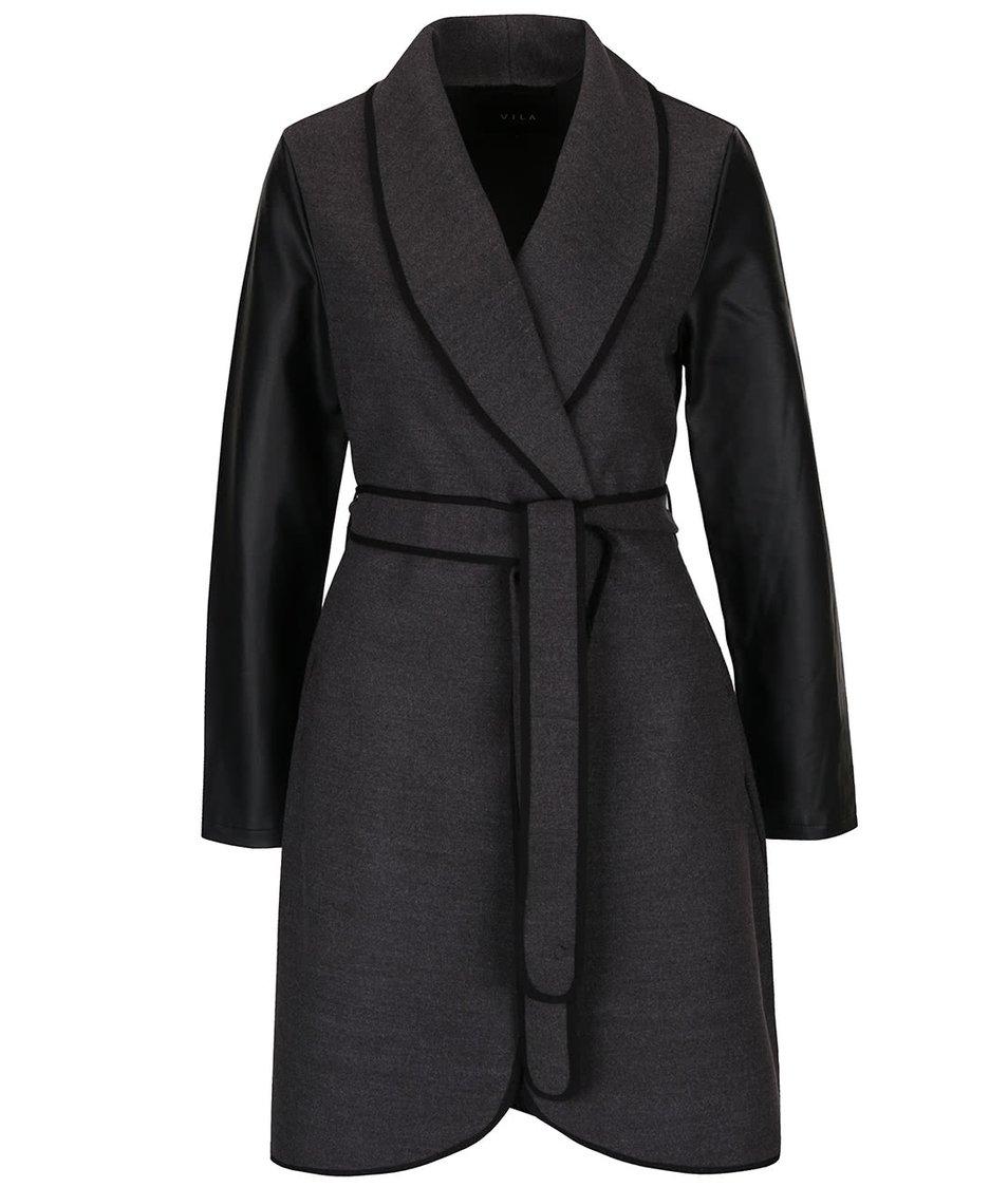 Tmavě šedý kabát s páskem a koženkovými detaily VILA Ida