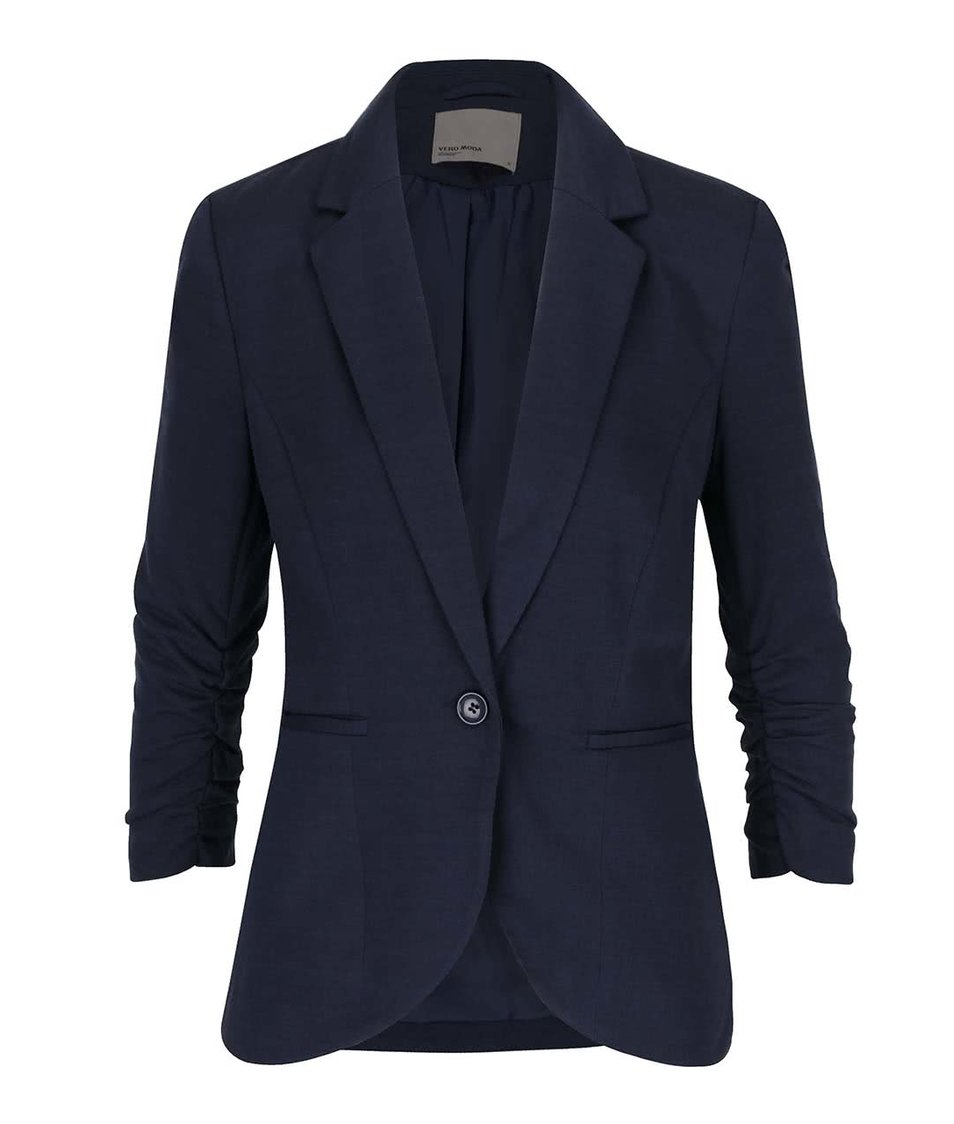 Tmavě modré sako s nařasenými 3/4 rukávy Vero Moda Jinkly
