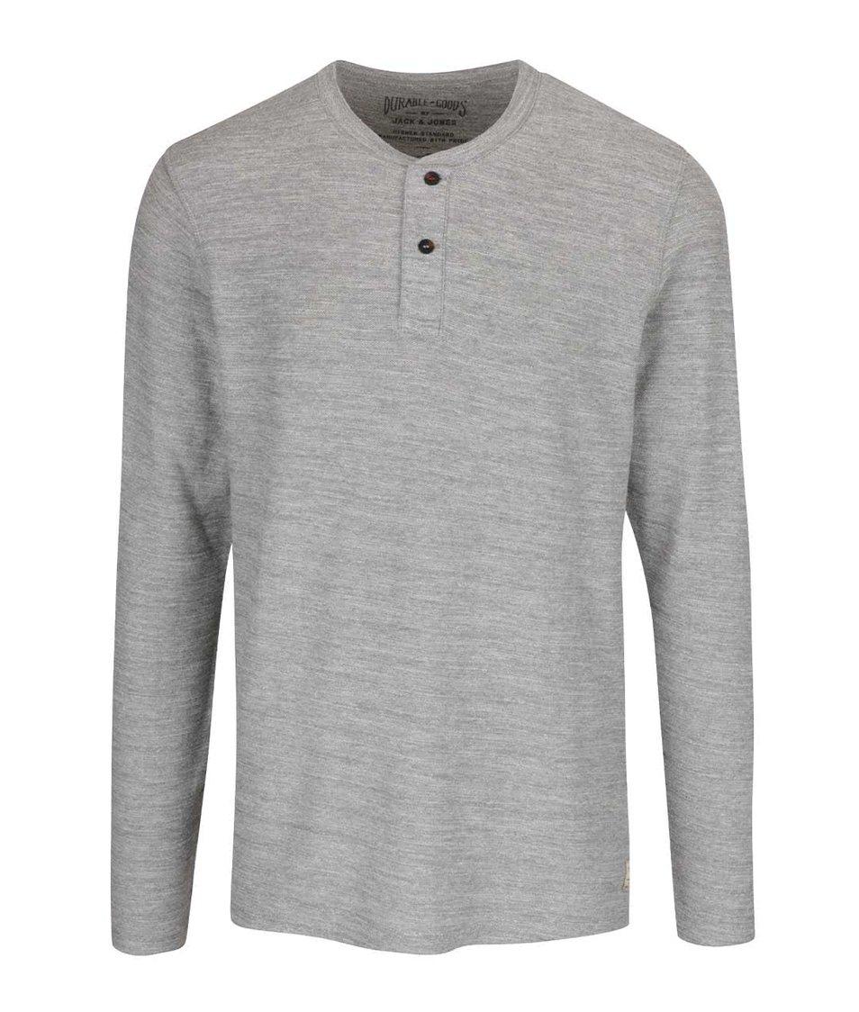 Světle šedé triko s dlouhým rukávem Jack & Jones Sebastian