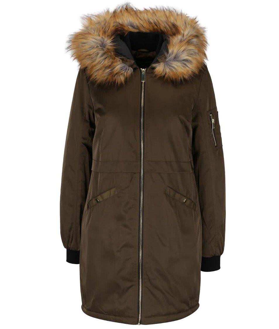 Khaki delší bunda na zip s umělým kožíškem Dorothy Perkins