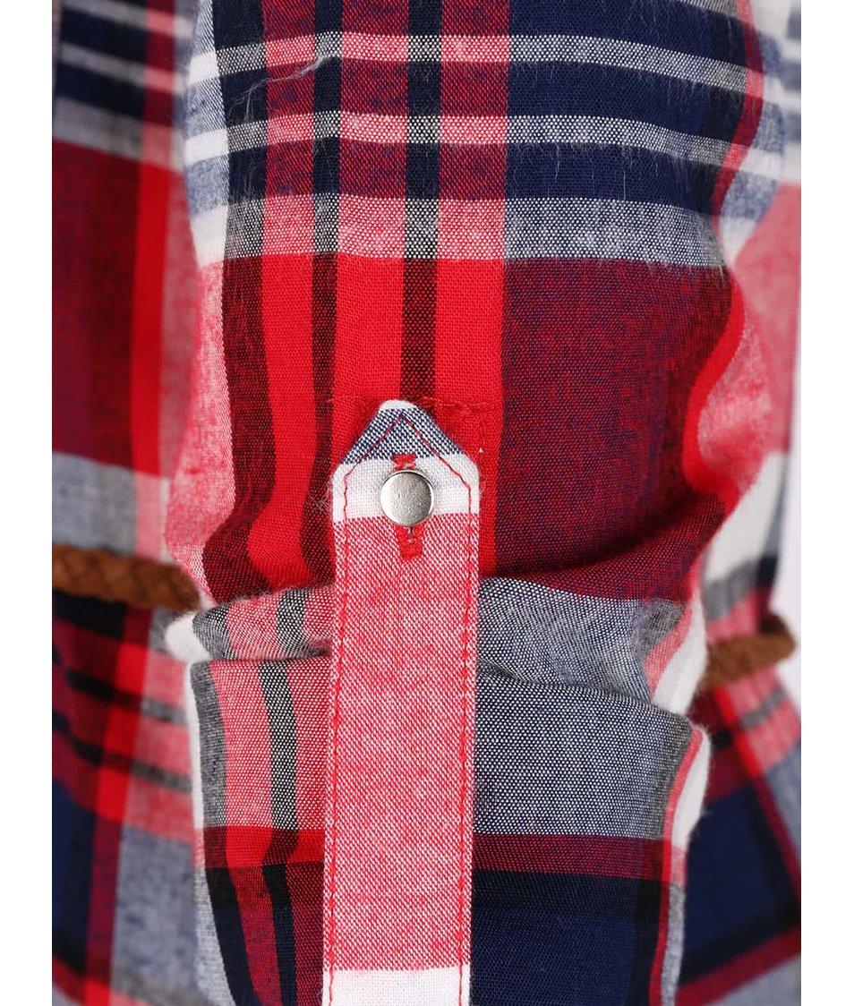 Modro-červené kostkované košilové šaty s tenkým páskem  Haily's Patty