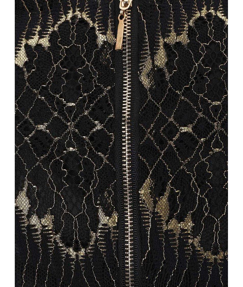 Černé krajkované šaty se vzory ve zlaté barvě Mela London