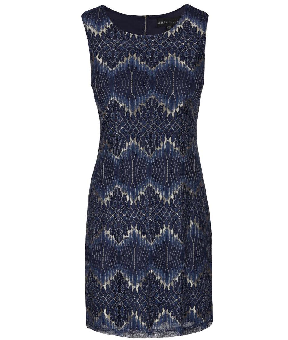 Tmavě modré krajkované šaty se vzory ve zlaté barvě Mela London