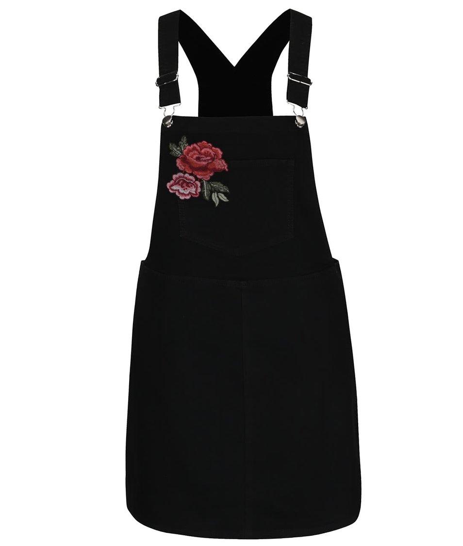 Černé džínové lacláčové mini šaty s výšivkou růže Dorothy Perkins