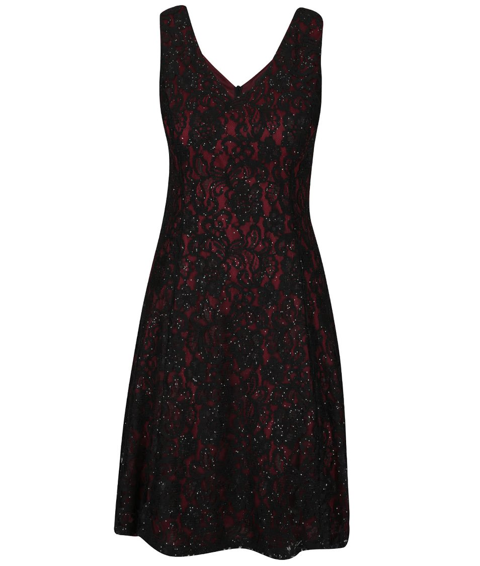 Vínovo-černé krajkované třpytivé šaty Mela London