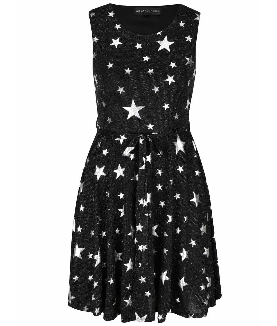 Černé třpytivé šaty s motivem hvězd Mela London