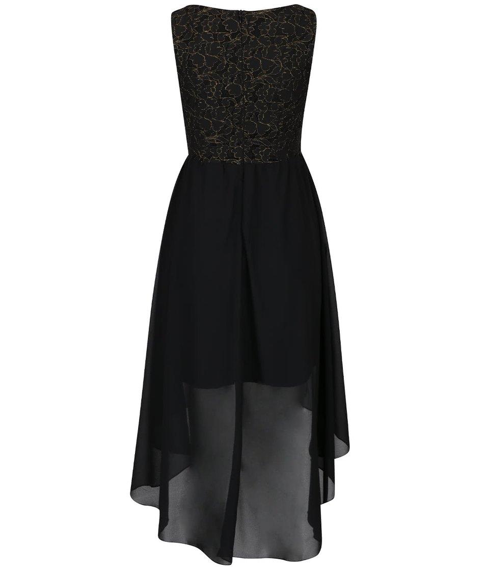 Černé šaty s prošívaným krajkovaným topem ve zlaté barvě Mela London