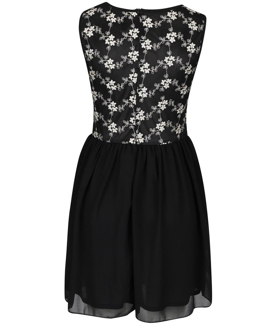 Černé šaty s ozdobným vyšívaným topem Mela London