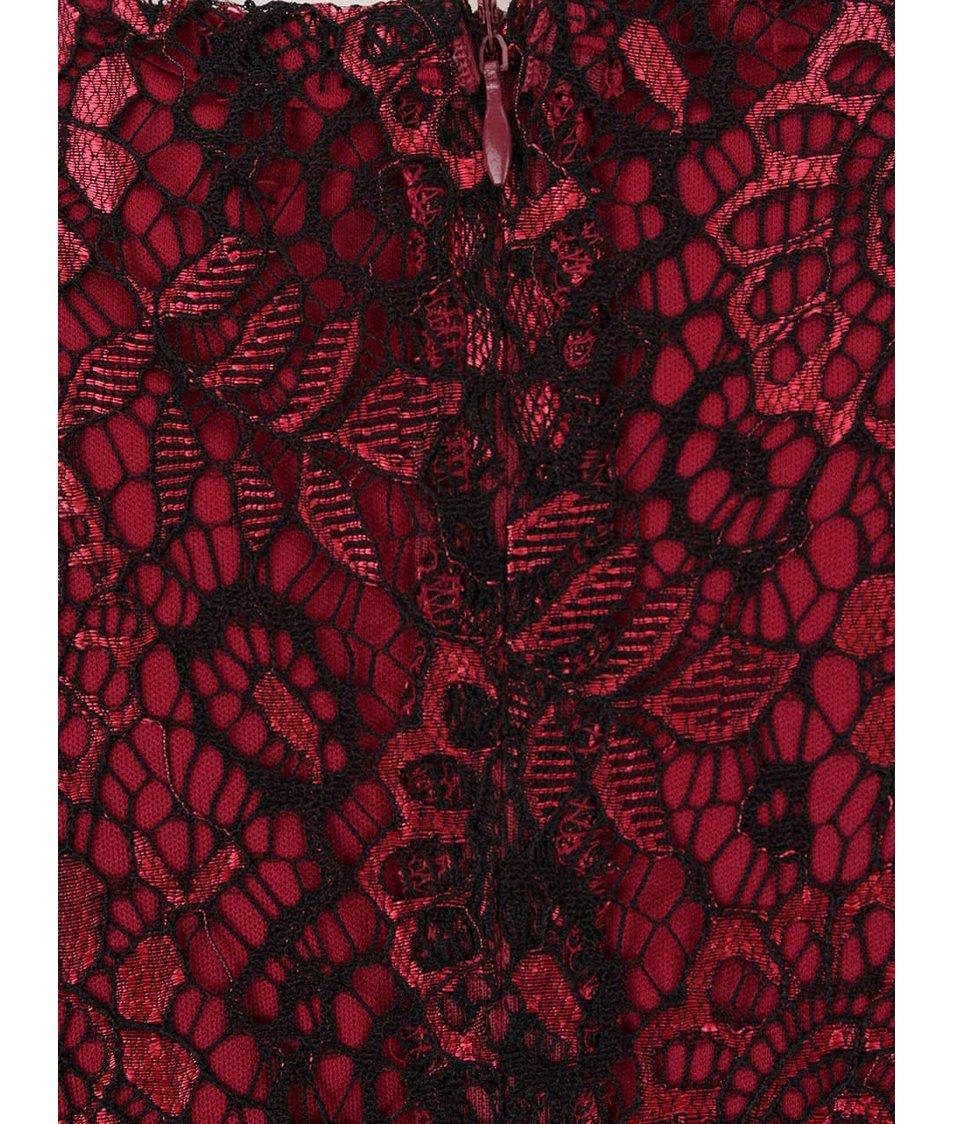 Černo-vínové lesklé krajkované šaty Mela London