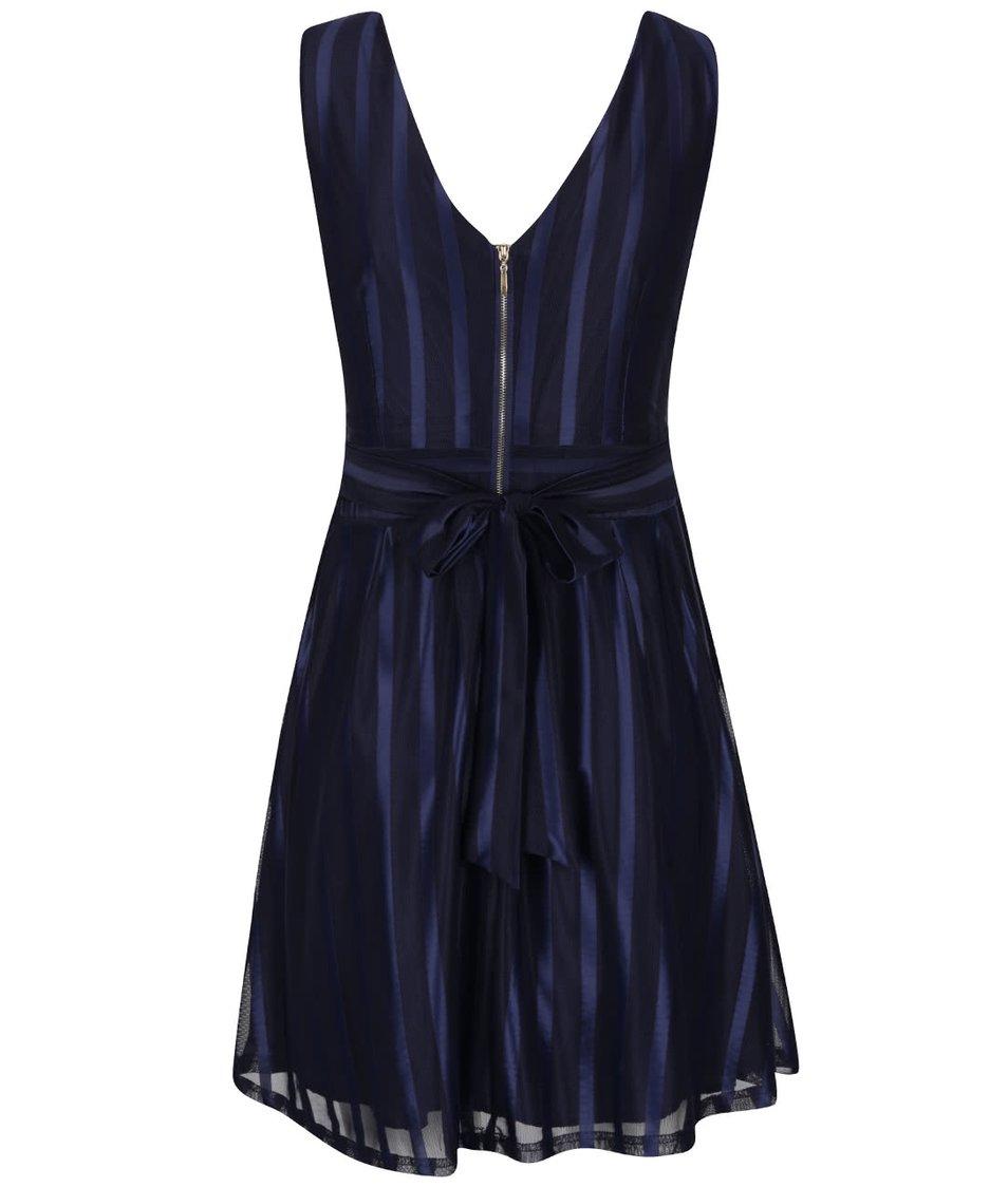 Tmavě modré lesklé pruhované šaty Mela London