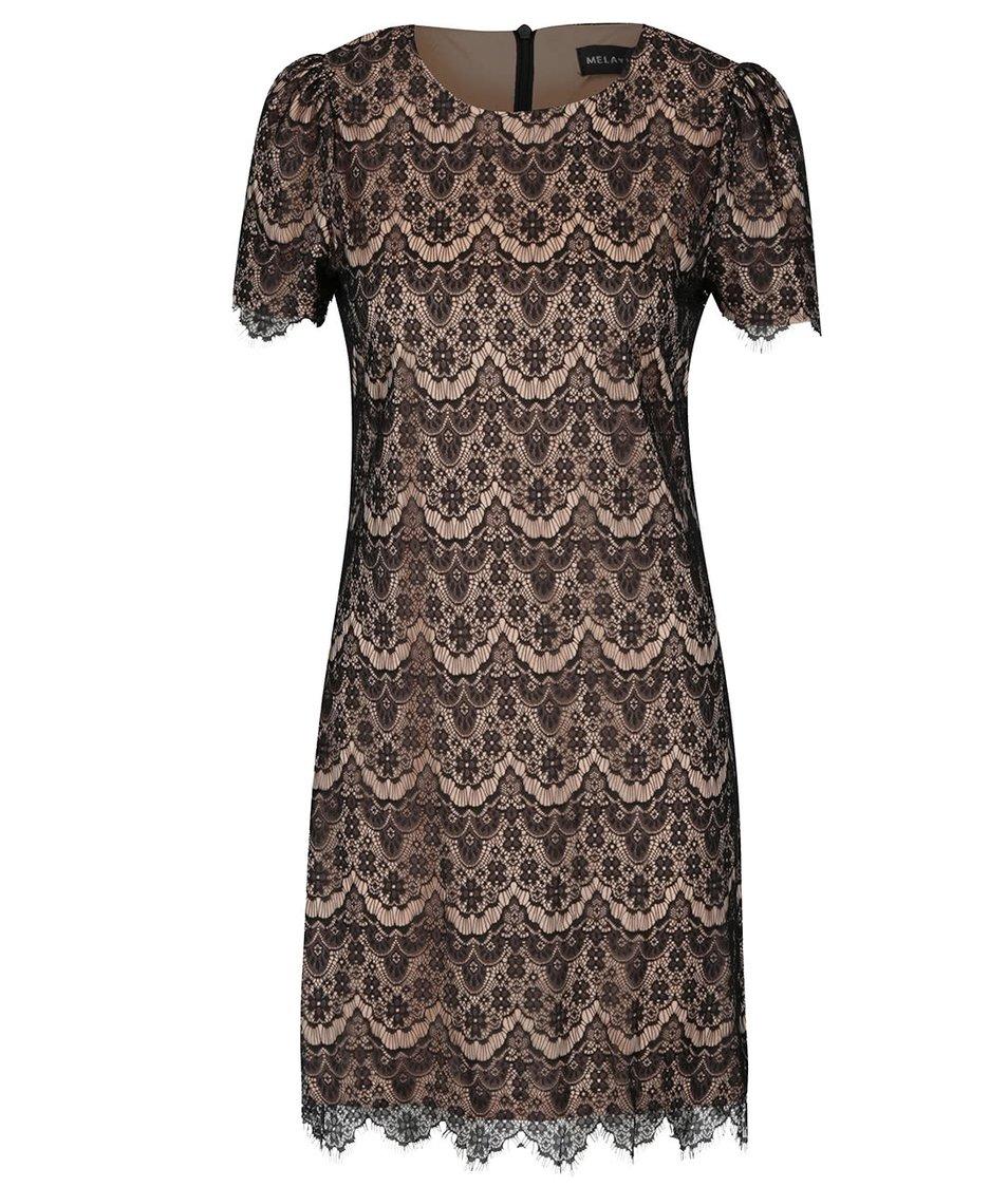Hnědo-černé krajkované šaty Mela London
