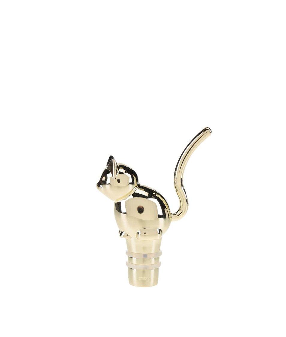 Uzávěr na láhev ve tvaru kočky ve zlaté barvě Umbra