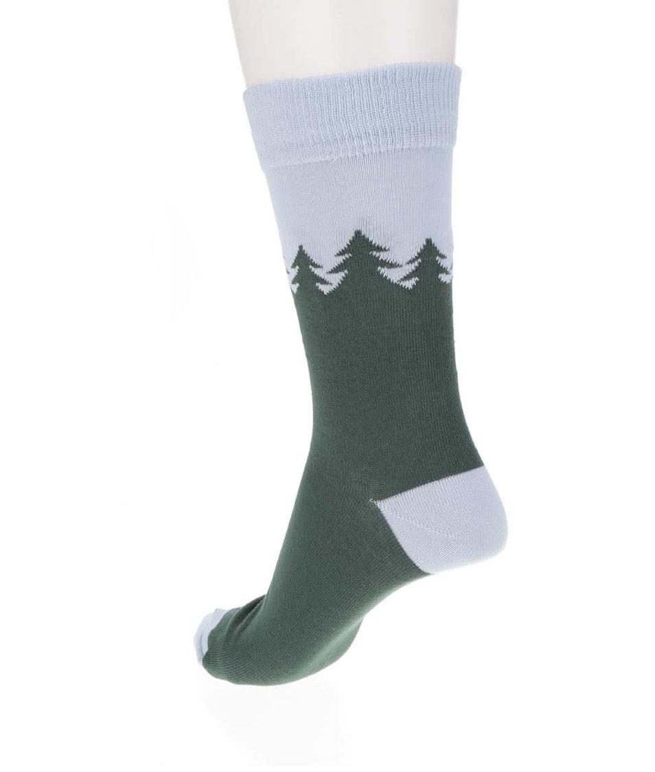 Modro-zelené ponožky s motivem lesa ZOOT Originál