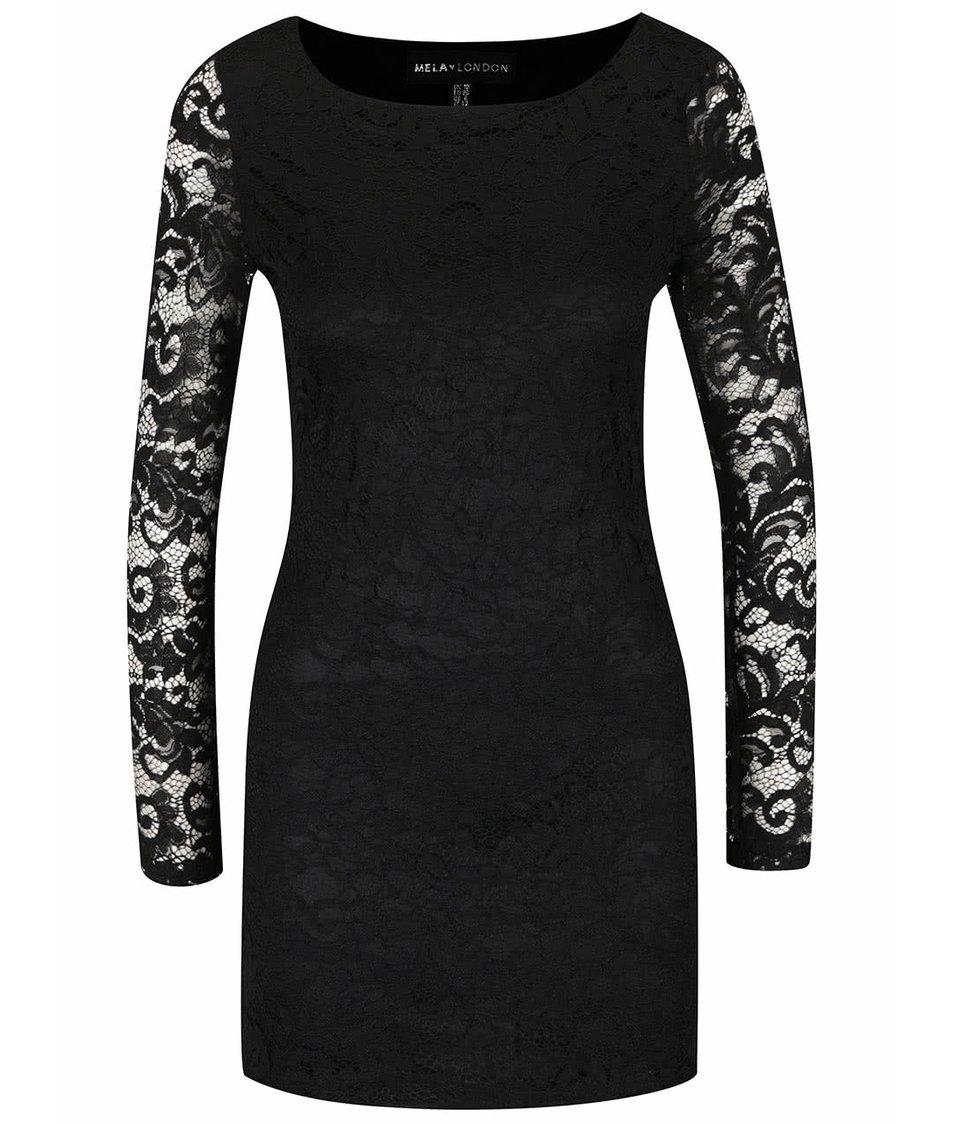 Černé krajkované šaty s dlouhými rukávy Mela London