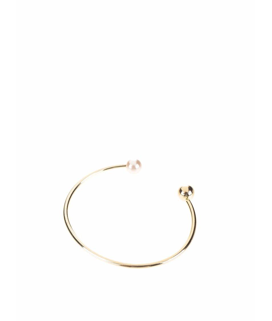 Náramek ve zlaté barvě s růžovou perličkou Pieces Filune