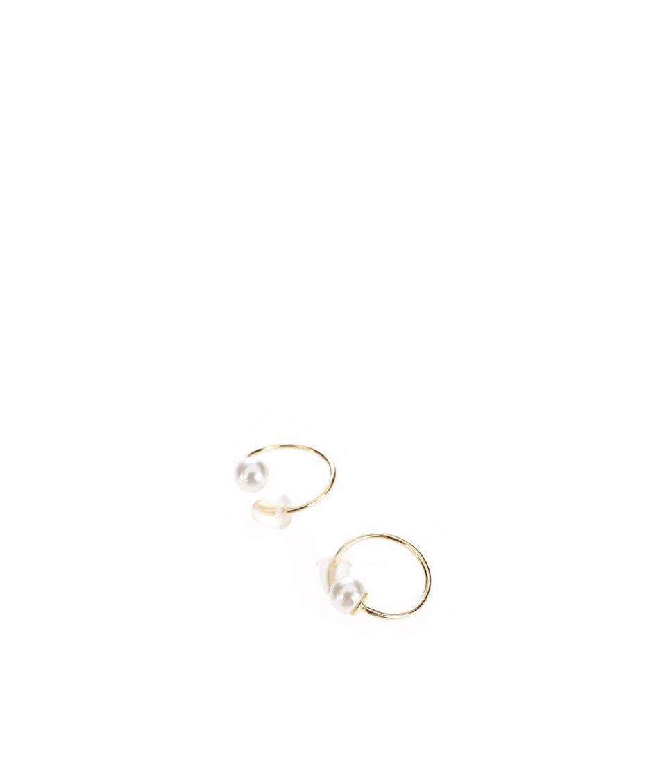 Menší kruhové náušnice ve zlaté barvě s krémovou kuličkou Pieces Filune Twirl