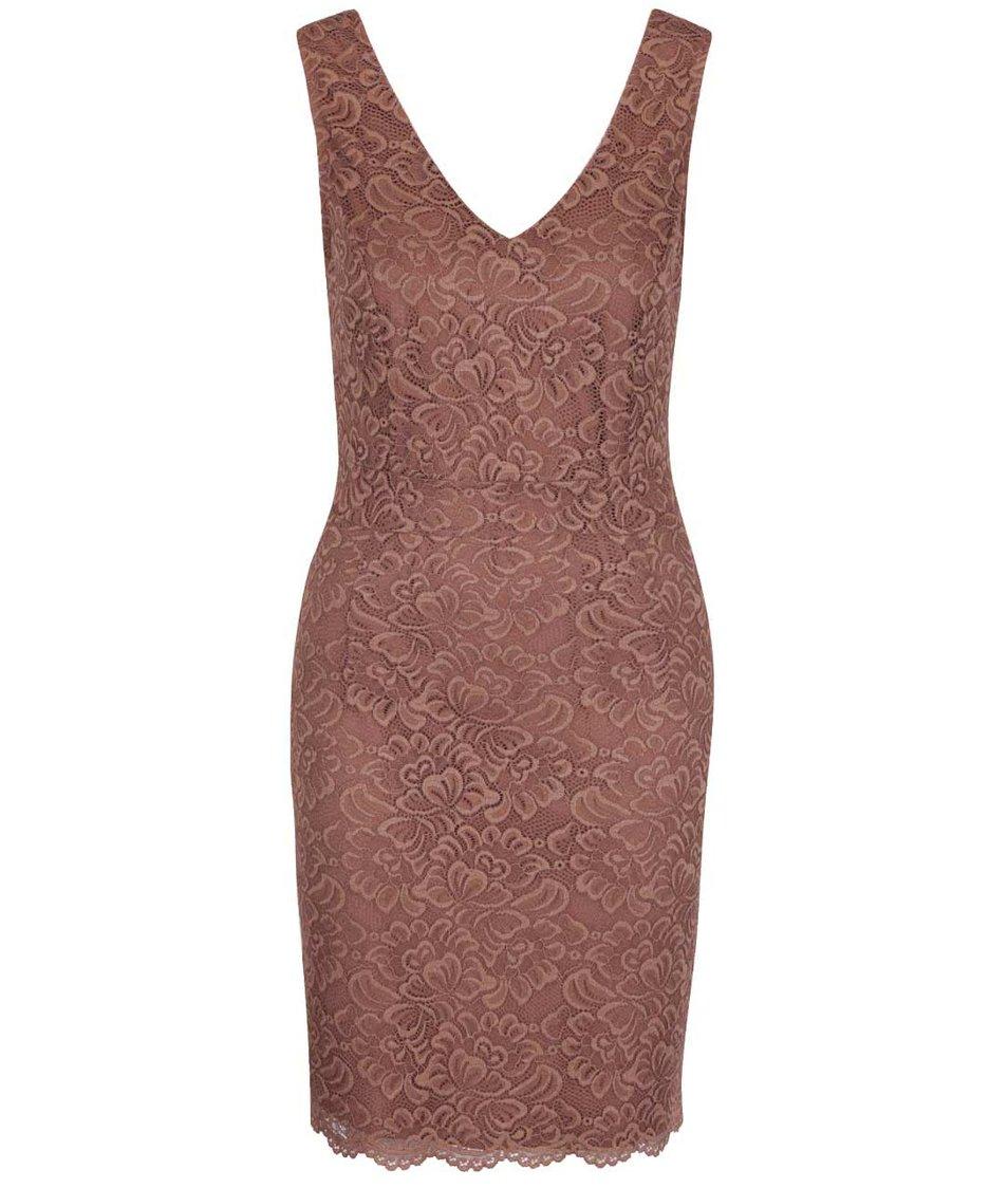 Růžovohnědé krajkované šaty ONLY Bobbie