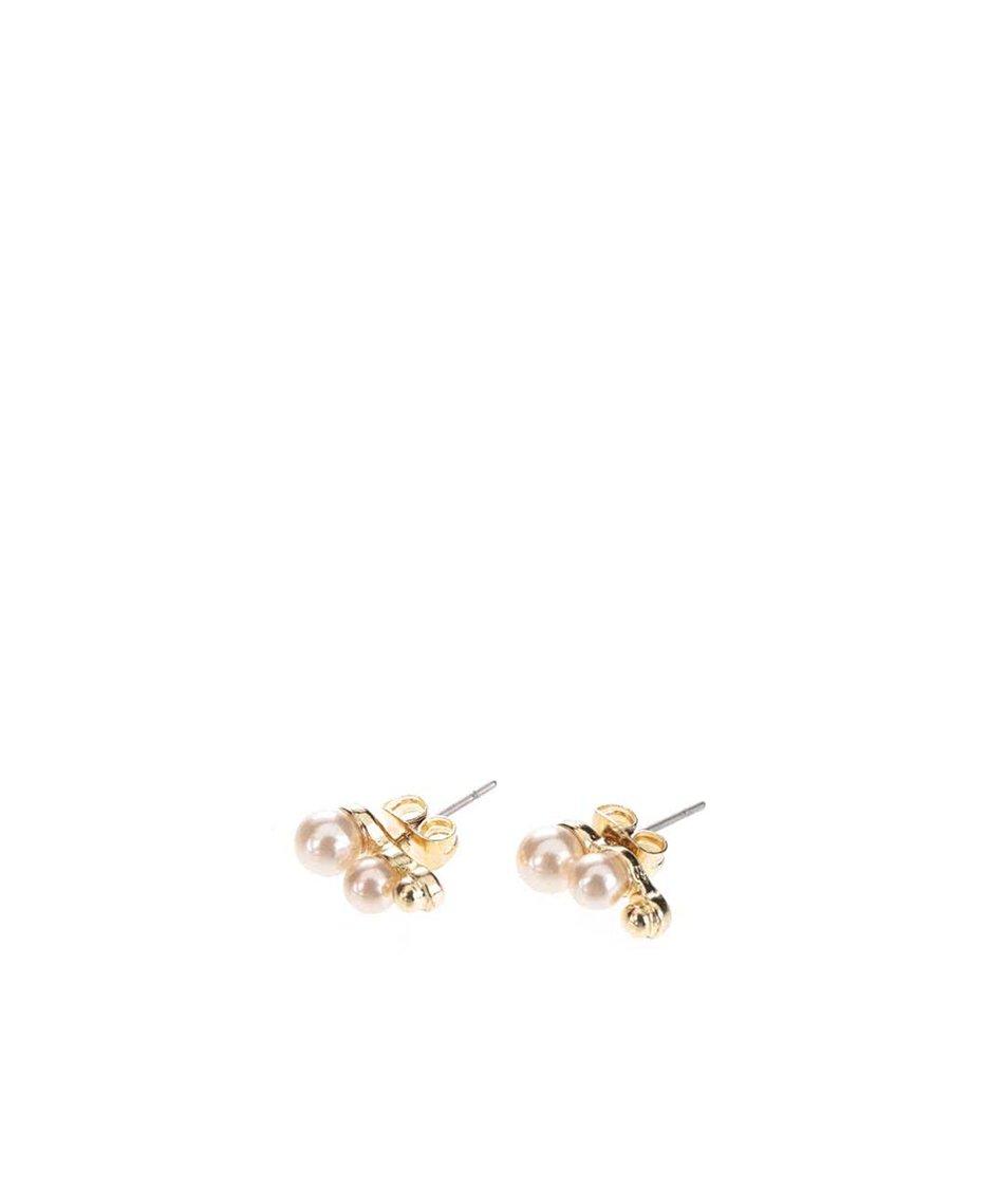 Náušnice ve zlaté barvě s dvěma růžovýma kuličkama Pieces Filune