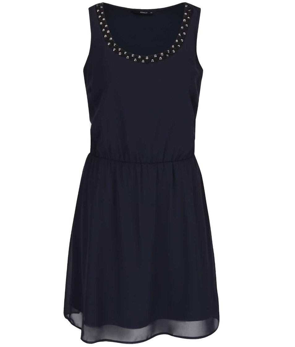 Tmavě modré šaty se zdobením v dekoltu ONLY Berit