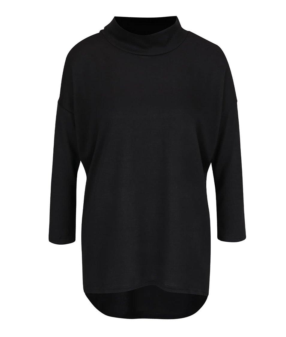 Černé volnější tričko s nízkým rolákem ONLY Eli