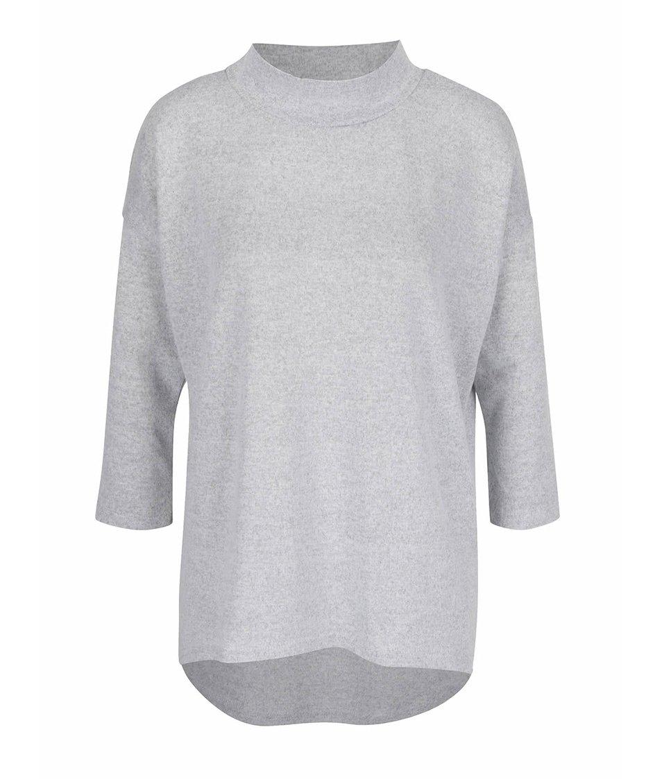 Světle šedé žíhané volnější tričko s nízkým rolákem ONLY Eli