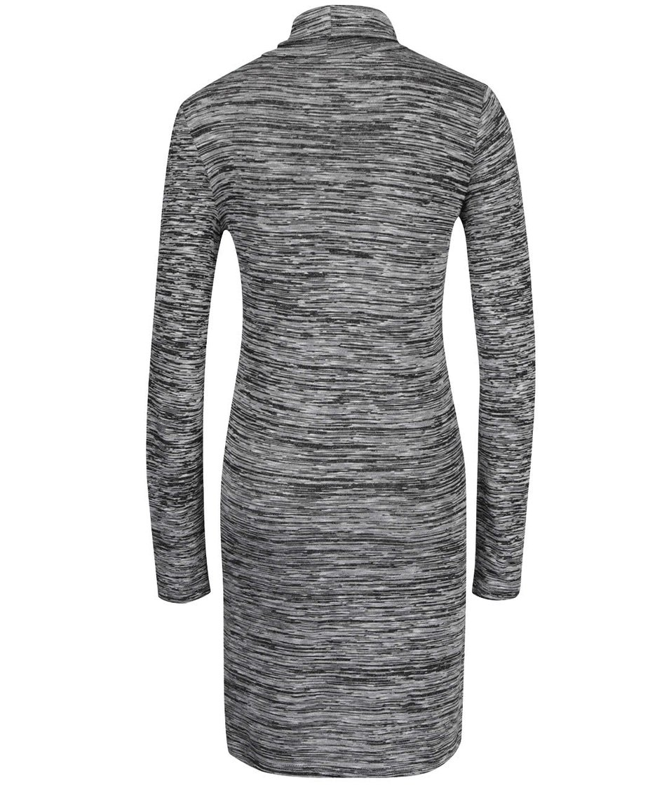 Černo-šedé žíhané šaty s rolákem ONLY Emilie