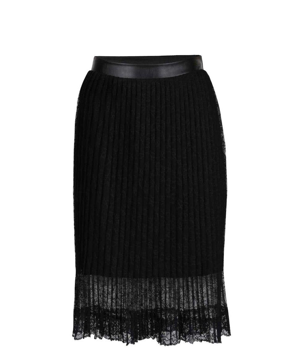 Černá krajkovaná plisovaná sukně ONLY Julie