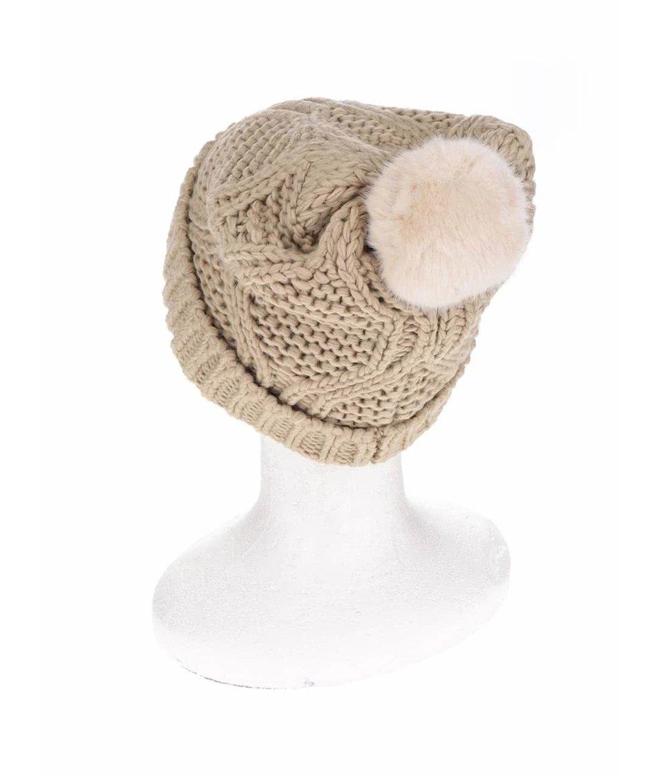 Béžová čepice s bambulí ONLY Oda