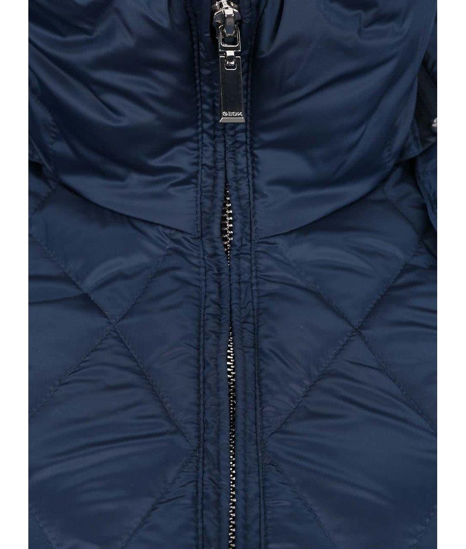 Modrá dámská péřová funkční bunda s umělým kožíškem Geox