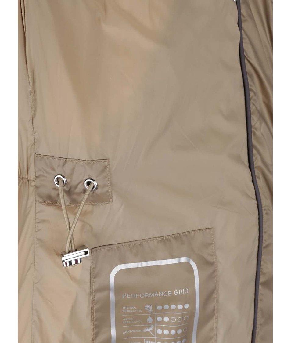 Béžová dámská péřová funkční bunda s umělým kožíškem Geox