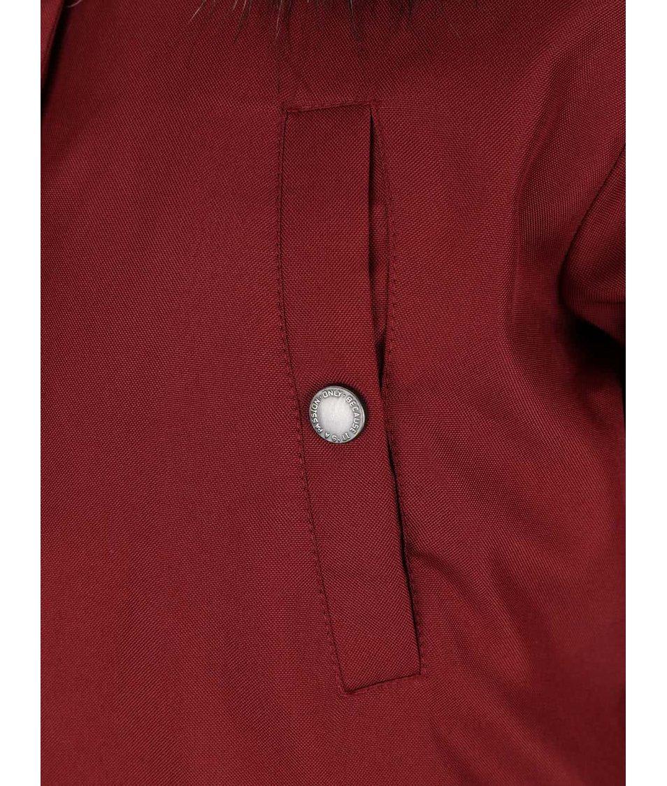 Cihlová bunda s umělým kožíškem ONLY Free