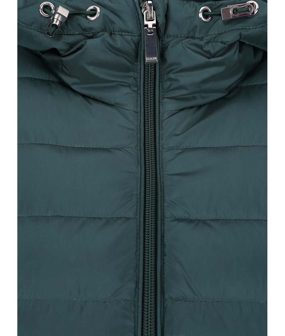 Zelená dámská péřová funkční prošívaná bunda s kapucí Geox