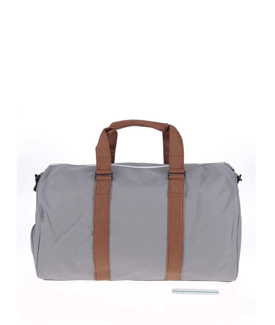Šedá cestovní taška s hnědými popruhy Herschel Novel