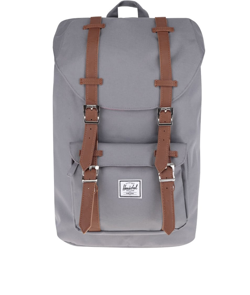 Šedý batoh s hnědými popruhy Herschel Little America M
