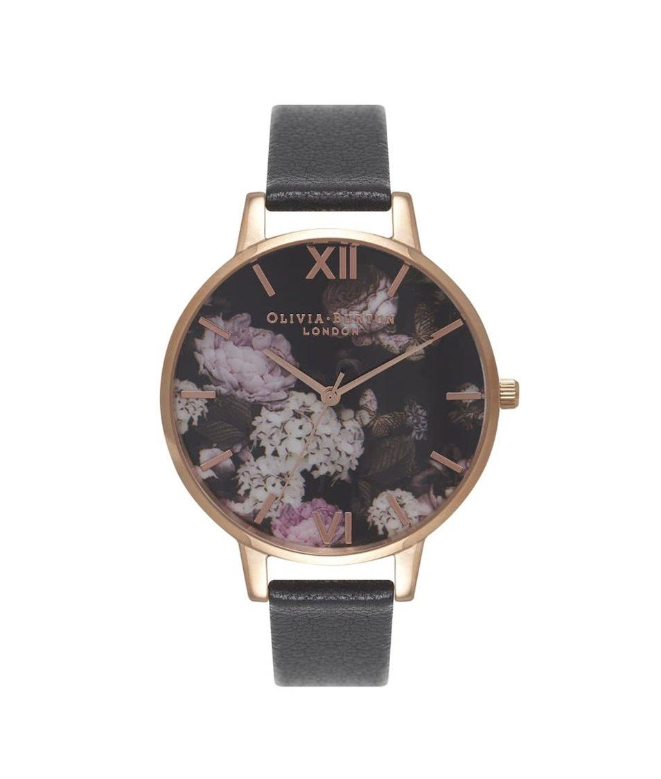 Černé hodinky s květovaným ciferníkem Olivia Burton