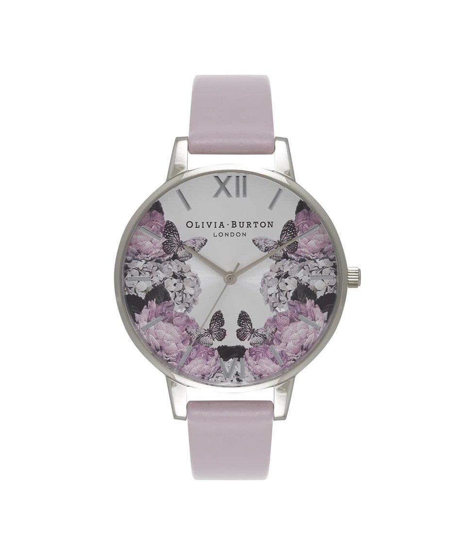 Fialové hodinky s květovaným ciferníkem Olivia Burton