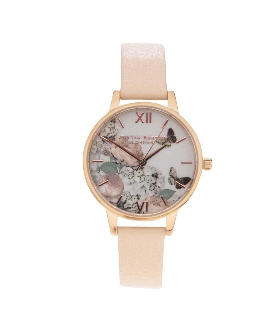 Béžové hodinky s květovaným ciferníkem Olivia Burton