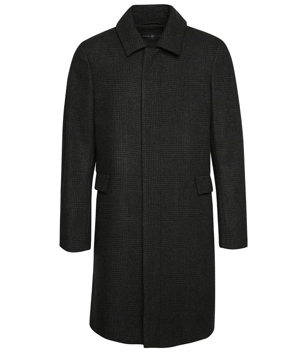Tmavě šedý pánský vlněný kabát s límcem  Pietro Filipi