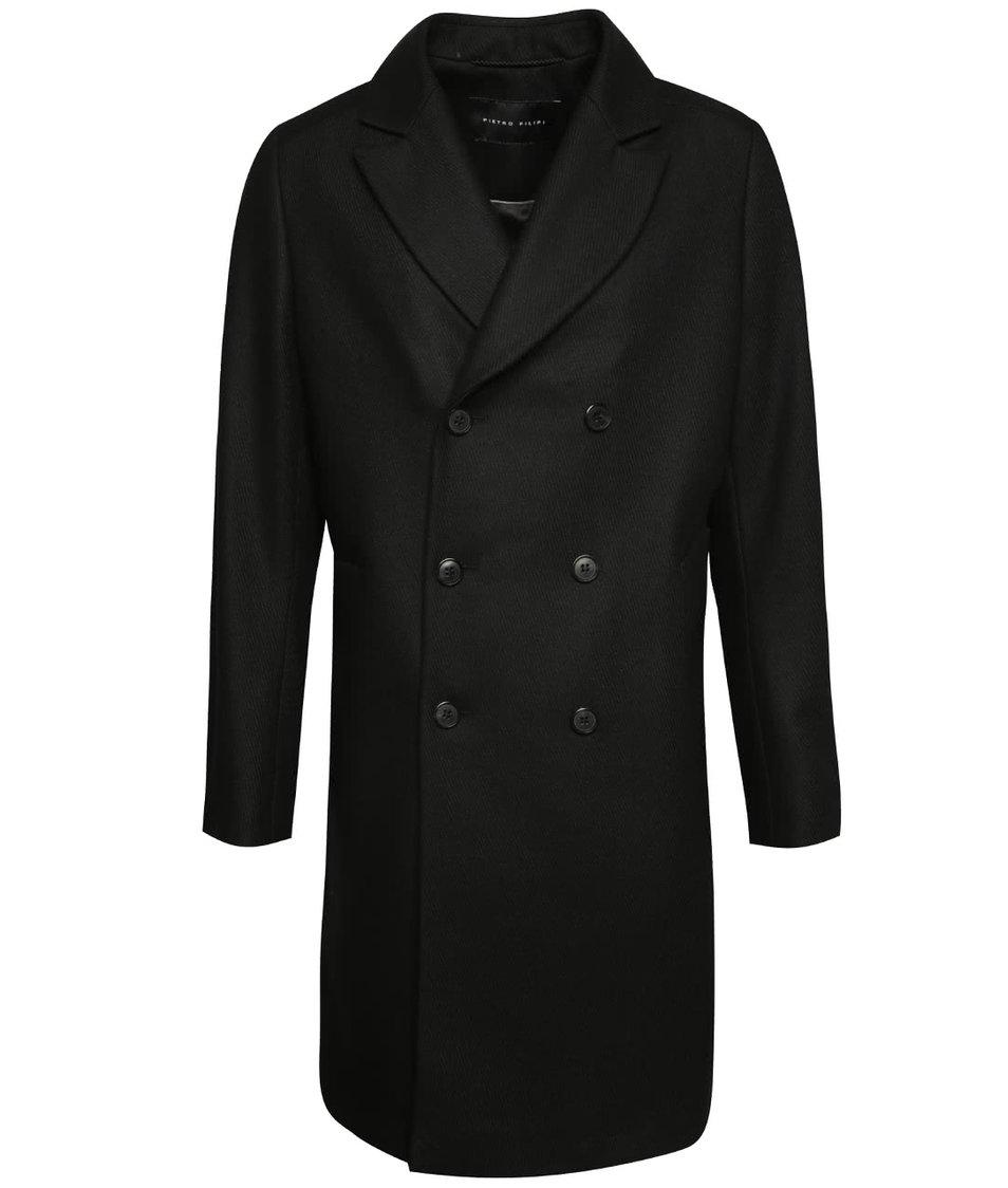 Černý pánský vlněný dlouhý kabát Pietro Filipi