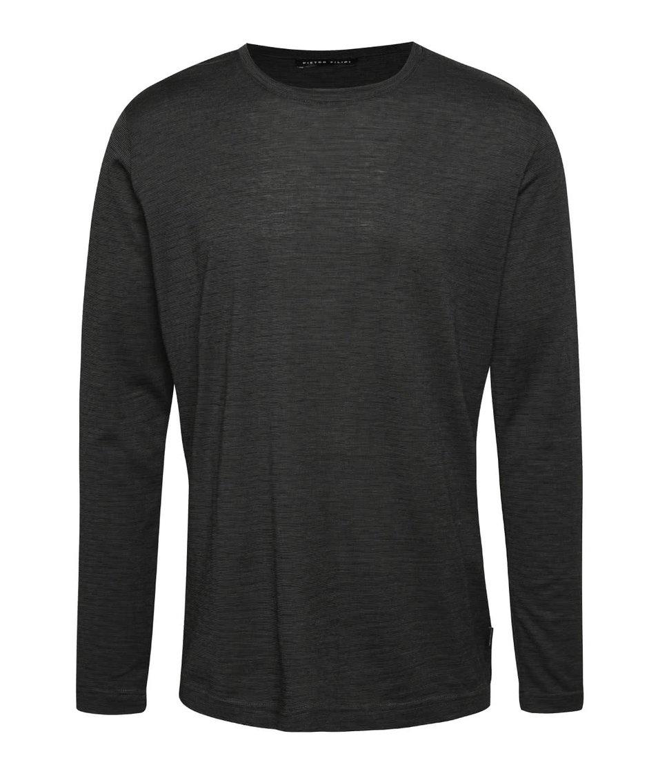 Tmavě šedé pánské žíhané triko s dlouhým rukávem Pietro Filipi