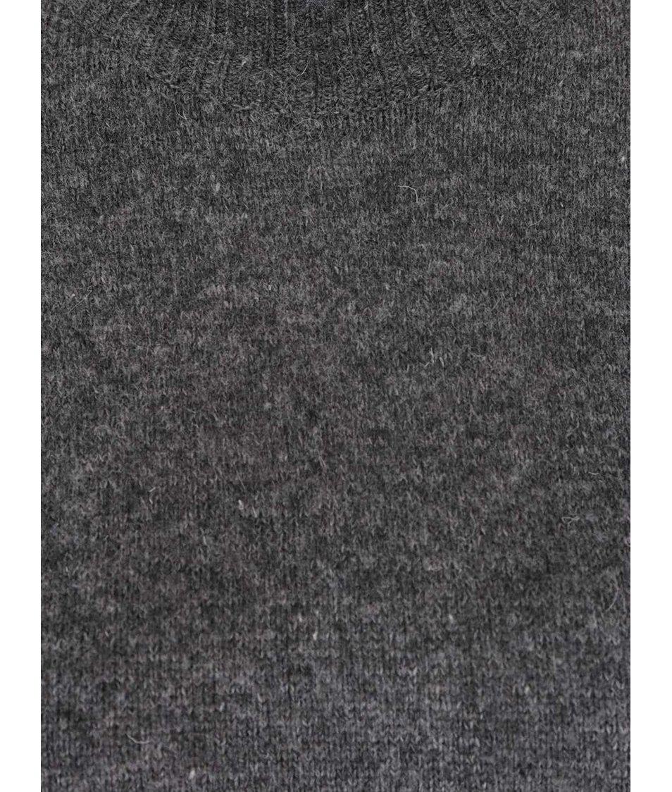 Tmavě šedé svetrové šaty s nízkým rolákem VILA Gujo