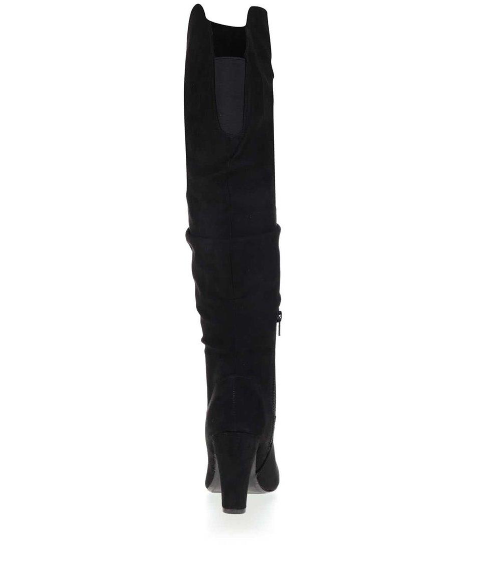Černé vysoké kozačky v semišové úpravě Dorothy Perkins Kiwi