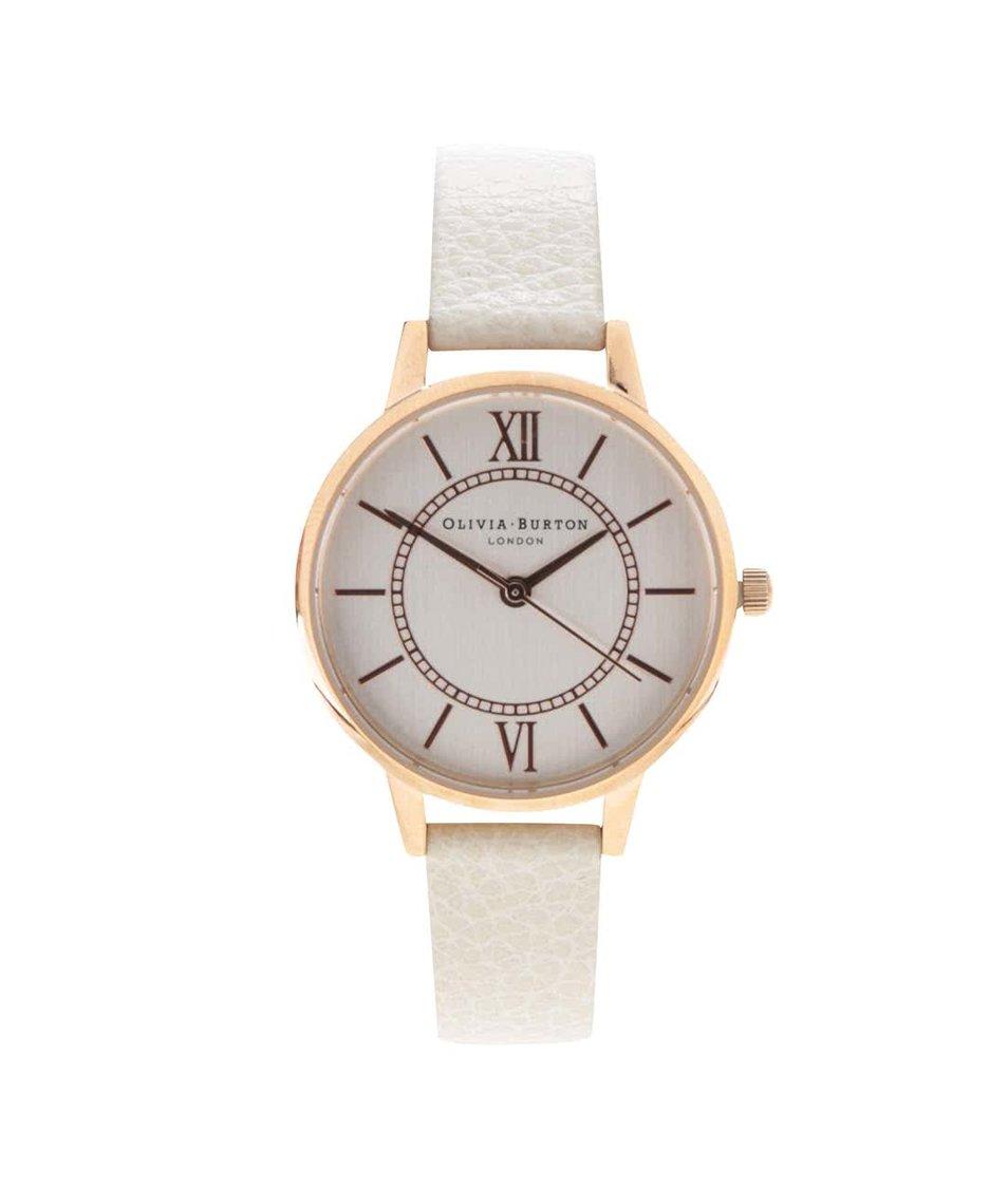 Krémové hodinky s menším ciferníkem v růžovozlaté barvě Olivia Burton