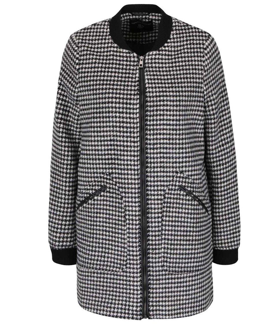 Černo-bílý kabát na zip se vzorem kohoutí stopy Dorothy Perkins