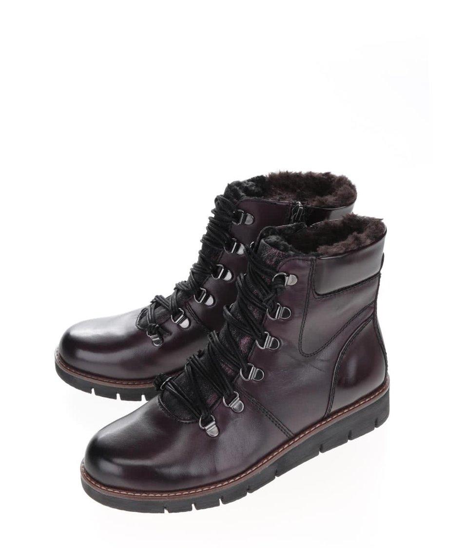 Vínové kožené kotníkové boty s umělým kožíškem Tamaris
