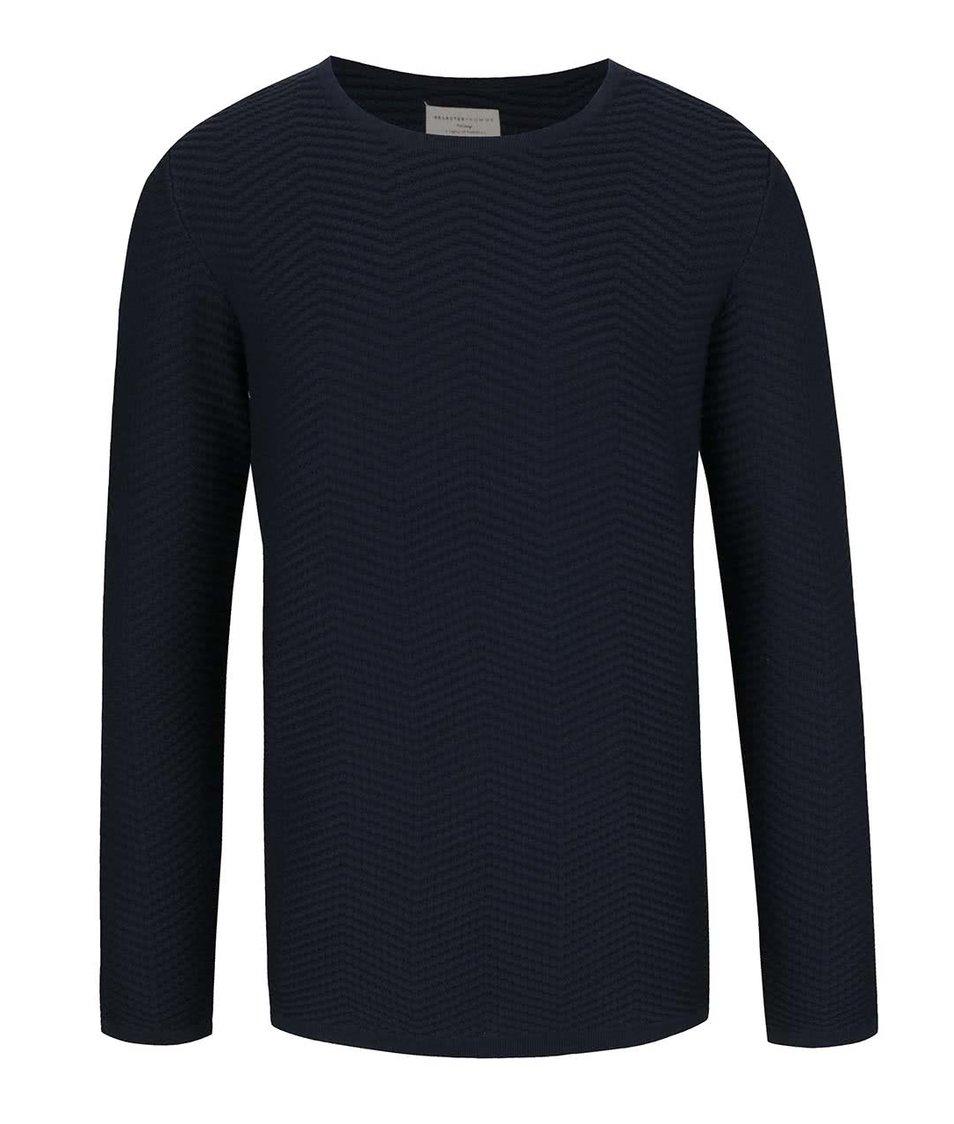 Tmavě modrý svetr s jemným plastickým vzorem Selected Homme Kaspar